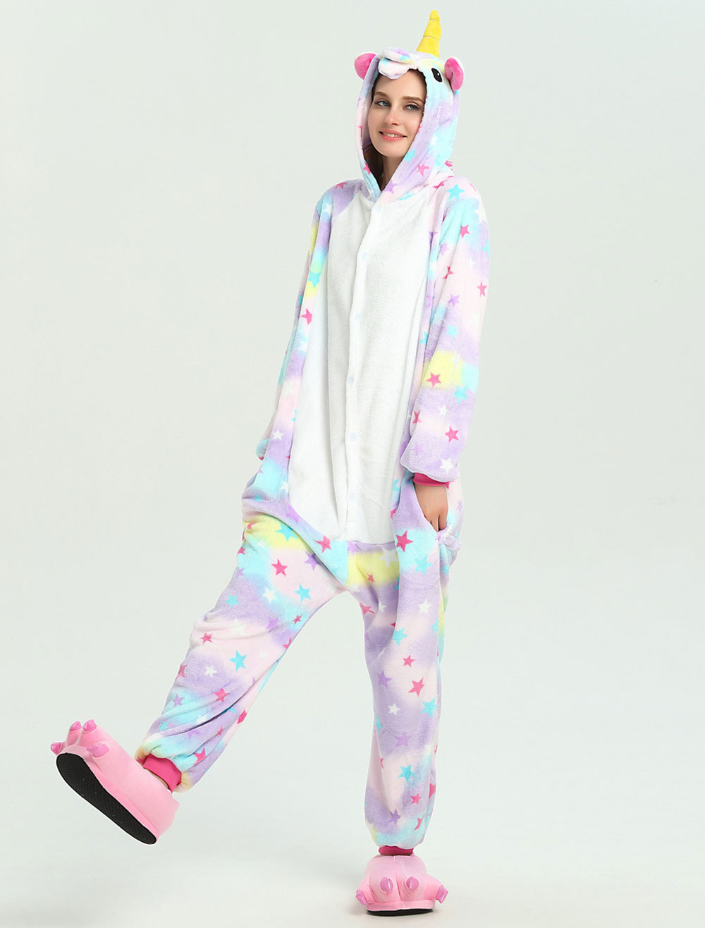 a4f0a6d6d Unicorn Onesie Kigurumi Pajamas Rose Flannel Winter Jumpsuit ...