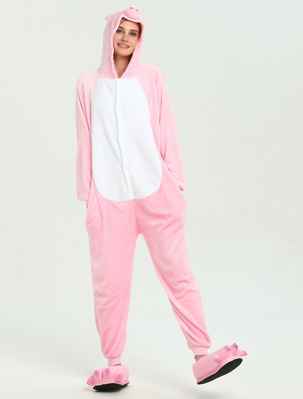 Buy Pig Onesie Kigurumi Adults Pink Winter Flannel Jumpsuit Halloween for $15.99 in Milanoo store