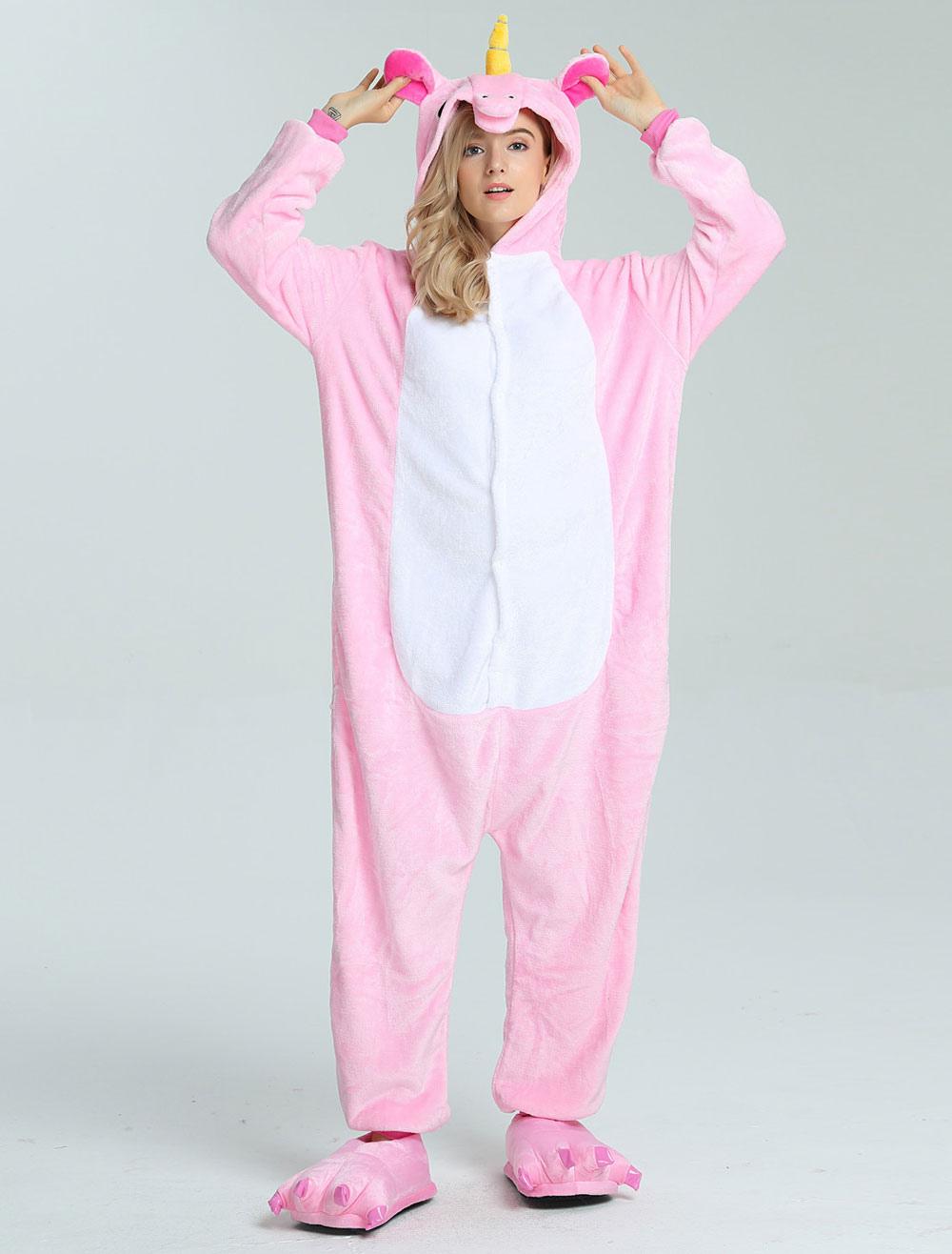 Buy Unicorn Onesie Kigurumi Adults Unisex Pink Flannel Jumpsuit Halloween for $15.99 in Milanoo store