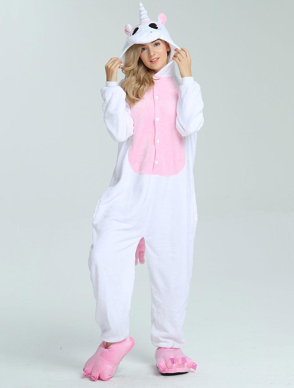 Buy Onesie Unicorn Kigurumi White Unisex Adults Winter Jumpsuit Halloween for $16.99 in Milanoo store