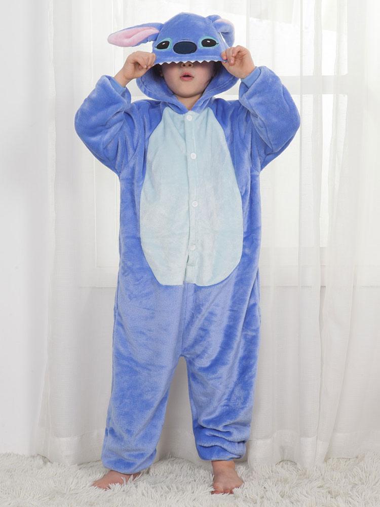 Kigurumi bambini blu di flanella cartone animato per