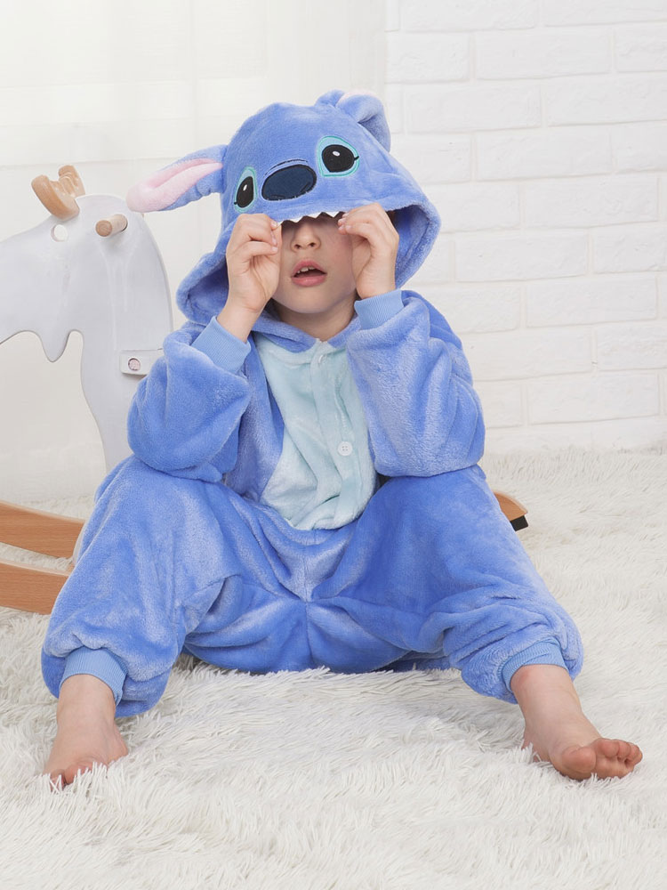 la mejor actitud 732dd 8e60f Stitch Onesie Kigurumi pijama azul franela mono para niños Halloween