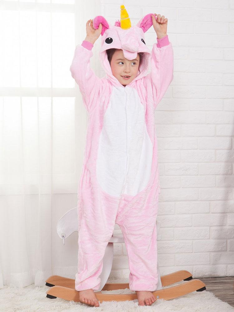 Buy Onesie Unicorn Kigurumi Kids Unisex Pink Flannel Jumpsuit Halloween Costume for $15.99 in Milanoo store