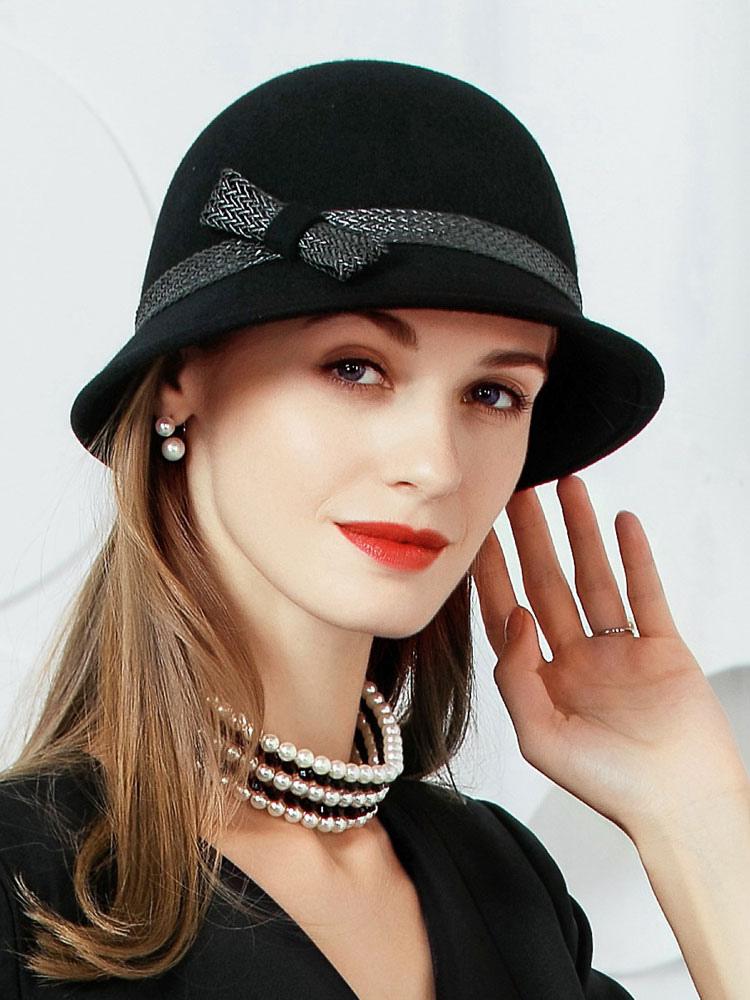 Chapéus de cloche vintage Chapéu de inverno de lã preta para mulheres-No.1  ... af0a5d67a97