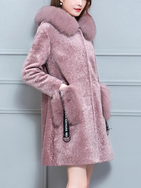 manteau femme en laine artificielle mode en fausse fourrure unicolore vert fonc e capuche avec. Black Bedroom Furniture Sets. Home Design Ideas