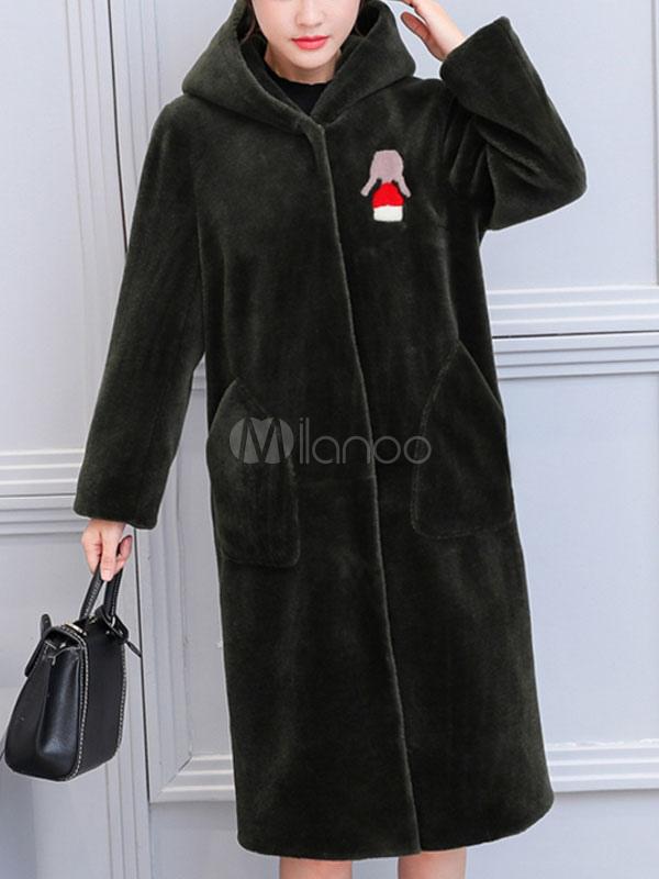 manteau en laine artificielle pour femme mode en fausse fourrure imprim de dessins anim s vert. Black Bedroom Furniture Sets. Home Design Ideas