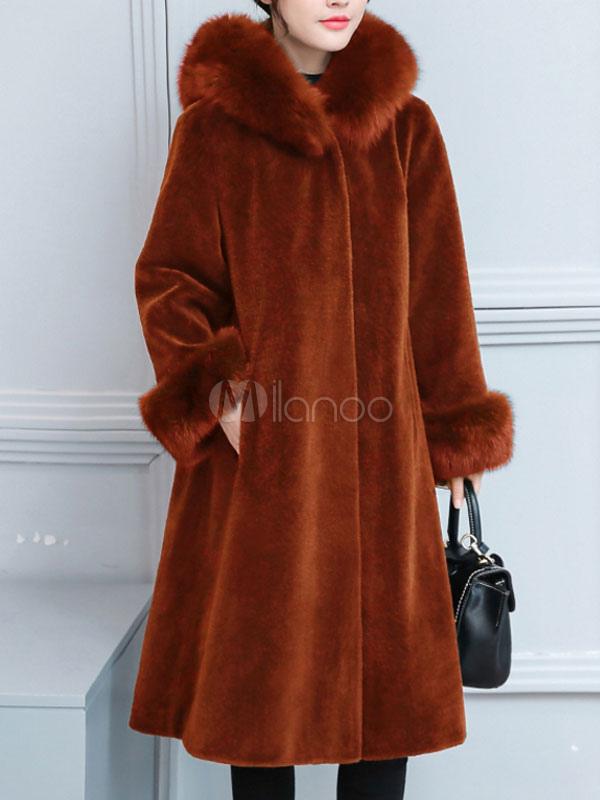timeless design e2eb2 8521c Cappotto invernale in pelliccia sintetica con coulisse a maniche lunghe con  cappuccio in pelliccia sintetica per le donne
