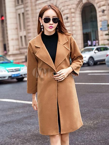 Buy Women Winter Coat Long Sleeve Notch Collar Light Tan Tweed Coat for $66.49 in Milanoo store