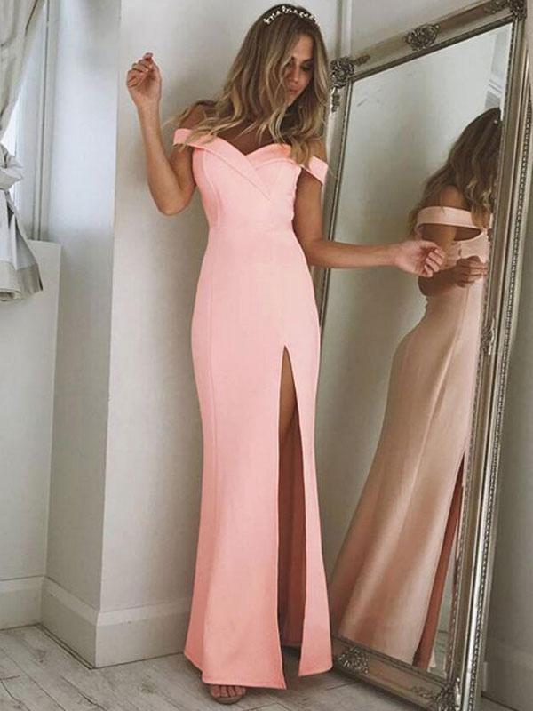Pink Women Dress Off The Shoulder Slit Women Maxi Dress Cheap clothes, free shipping worldwide