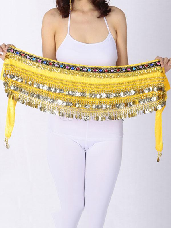 Belly Dance Accessories Women Sequins Yellow Velour Waist Chain