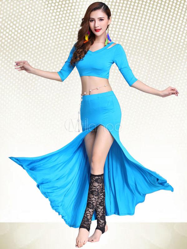 05fbd3fa6bb7 Belly Dance Costume Set 2 Piece Women Ocean Blue Long Skirt With Top ...