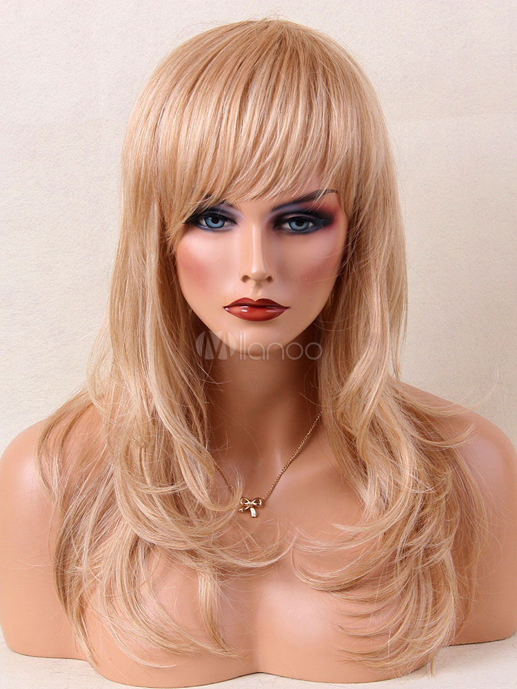 Buy Women Blonde Wig Layered Blunt Fringe Straight Long Human Hair Wig for $76.49 in Milanoo store