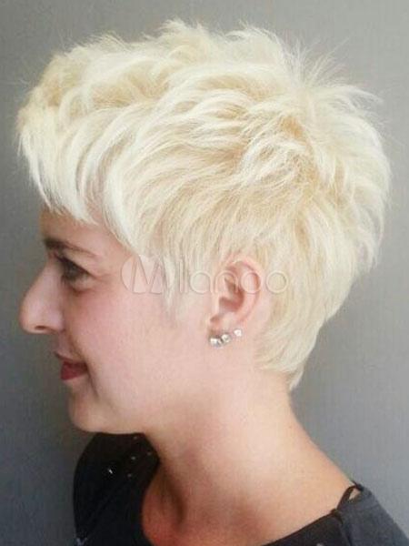 Human Hair Wig Layered Blunt Fringe Wavy Bouncy Apricot Short Women Wig