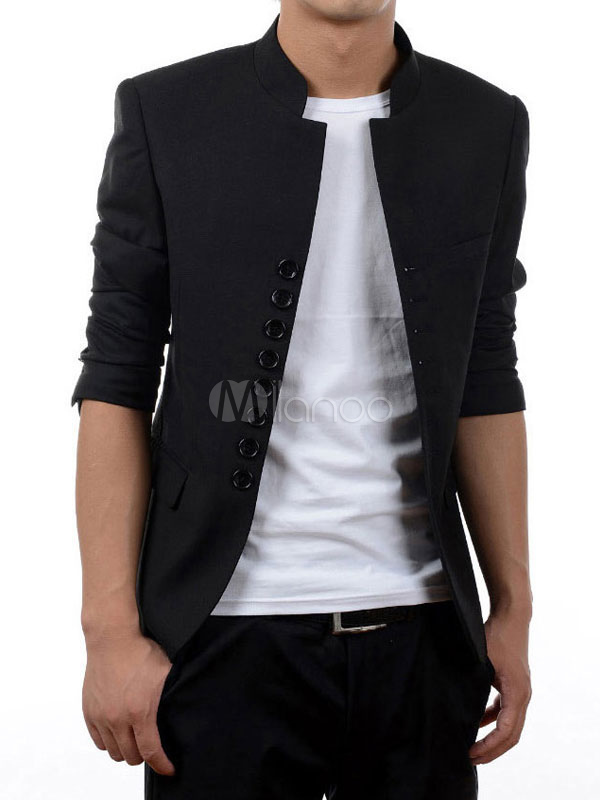 Casual Black Suit Spring Jacket Stand Collar Long Sleeve Slim Fit Casual Blazer For Men