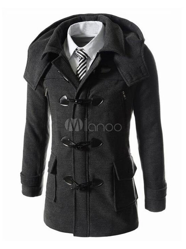 Men Duffle Coat Black Winter Coat Hooded Long Sleeve Tweed Coat