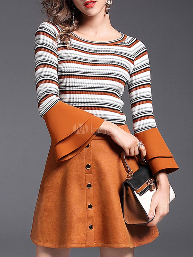 Buy Women Skirt Set Bell Sleeve Round Neck Striped Sweater With Mini Skirt for $53.99 in Milanoo store