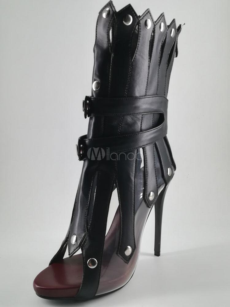 Offene Nieten Pu Heel Stiletto Zehen Schwarze Sandale High Frauen Stiefeletten Stiefel DYWEH29beI