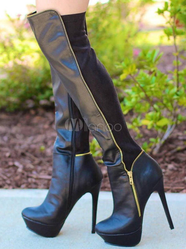 Buy Knee High Boots Black High Heel Boots Platform Round Toe Zipper Detail Women Boots for $98.09 in Milanoo store