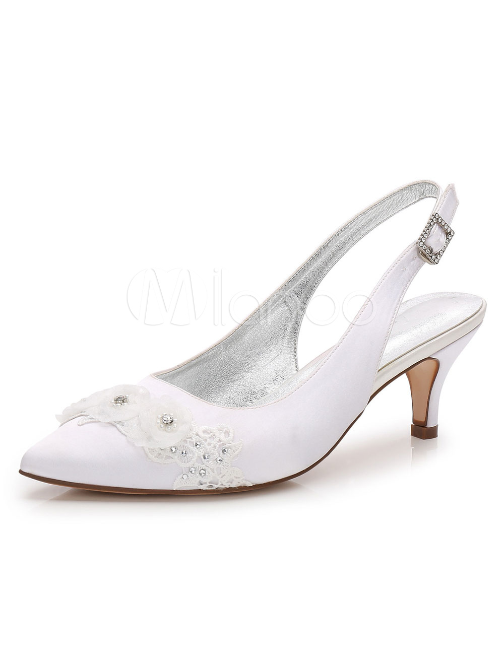 White Wedding Shoes Pointed Toe Kitten Heel Lace Slingbacks Bridal Shoes