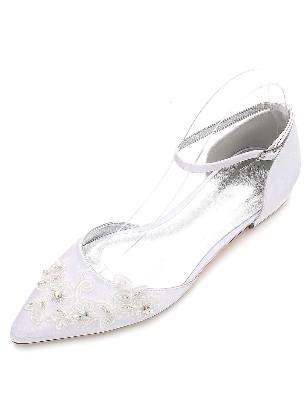 791ec7d117e White Wedding Shoes Pointed Toe Flat Lace Ankle Strap Bridal Shoes ...