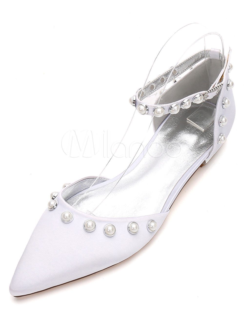 ac792f4ebe5c ... White Wedding Shoes Pointed Toe Flat Pearls Ankle Strap Bridal Shoes-No.9.  12. 40%OFF. Color White