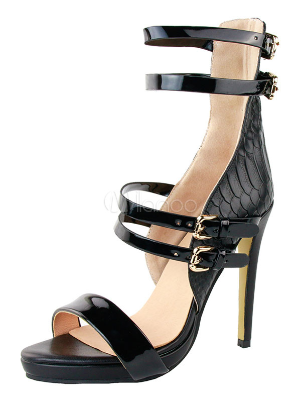 Buy Black Gladiator Sandals High Heel Open Toe Stiletto Ankle Strap PU Women's Sandal Shoes for $55.79 in Milanoo store