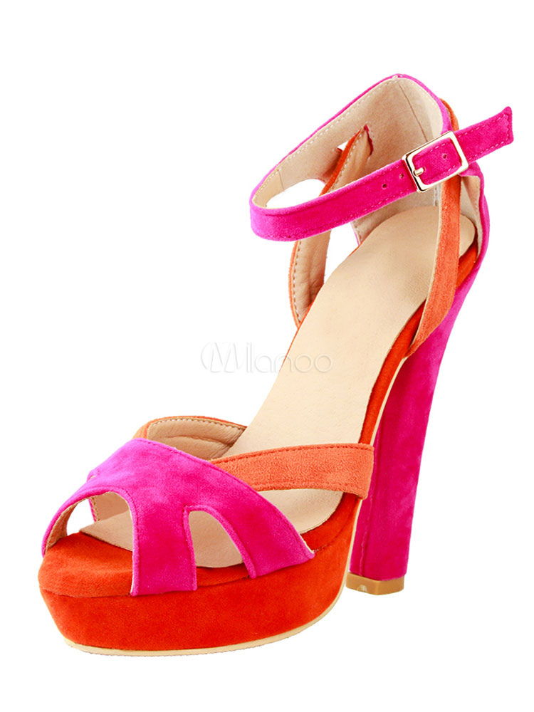 71b4f88354b Women s Sandal Shoes Chunky Heel Peep Toe Color Block Orange Sandals-No. ...