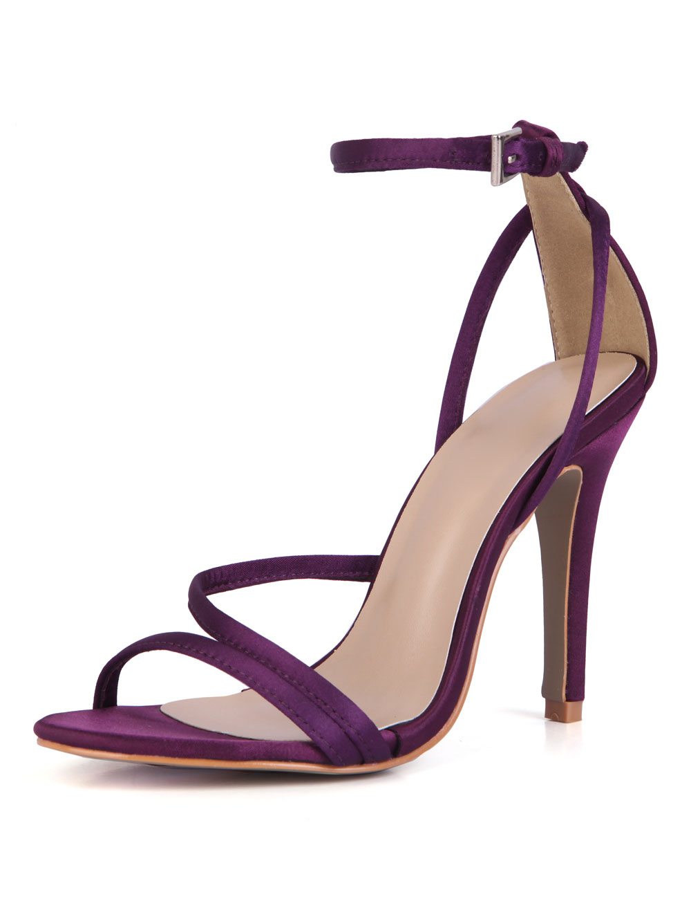 Women Evening Sandals High Heel Stiletto Open Toe Ankle Strap Purple ...