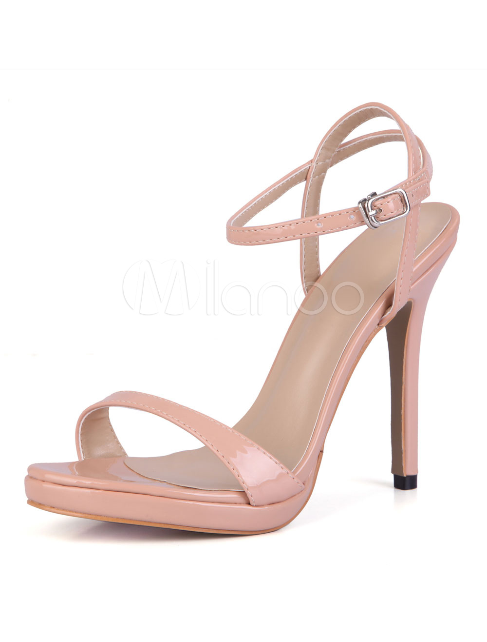 Women Sandal Shoes High Heel Open Toe Stiletto Ankle Strap Salmon Leather Sandals