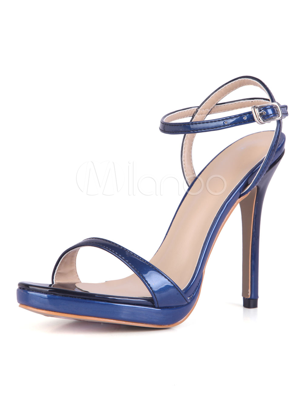 Buy Black Sandal Shoes High Heel Stiletto Open Toe Ankle Strap PU Women Sandals for $49.99 in Milanoo store