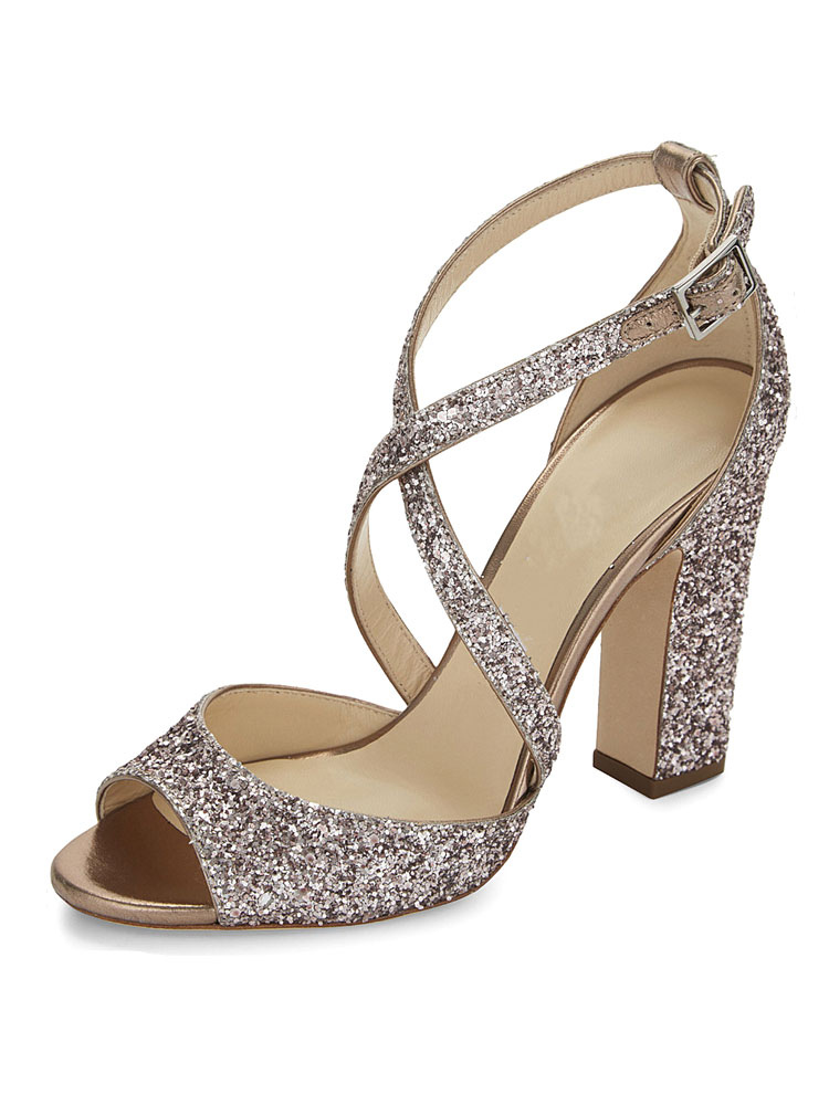 Women Golden Sandals Sequin Peep Toe PU Chunky Block Heeled Strappy Women Sandals