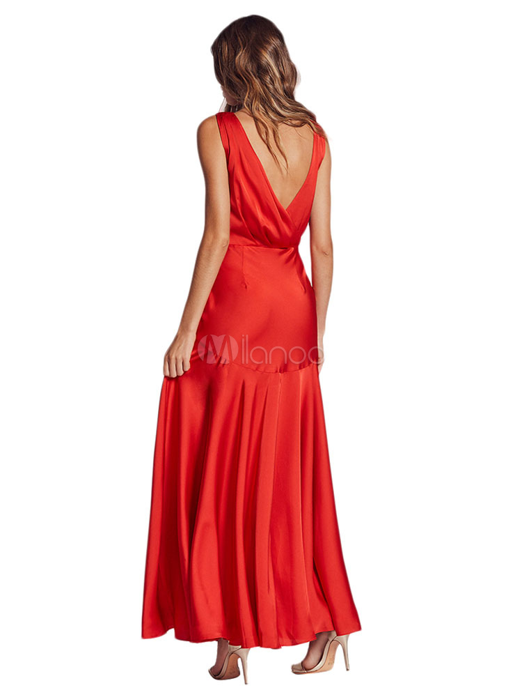 red maxi kleid tiefer ausschnitt sleeveless split backless. Black Bedroom Furniture Sets. Home Design Ideas