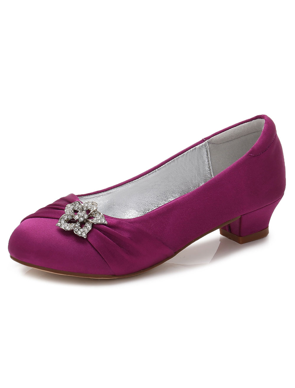 Flower Girls Shoes Purple Rhinestones Chunky Heel Pumps