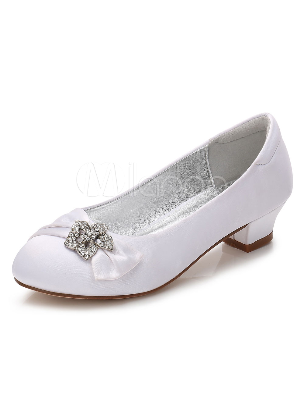 White Flower Girls Shoes Rhinestones Chunky Heel Round Toe Satin Pumps
