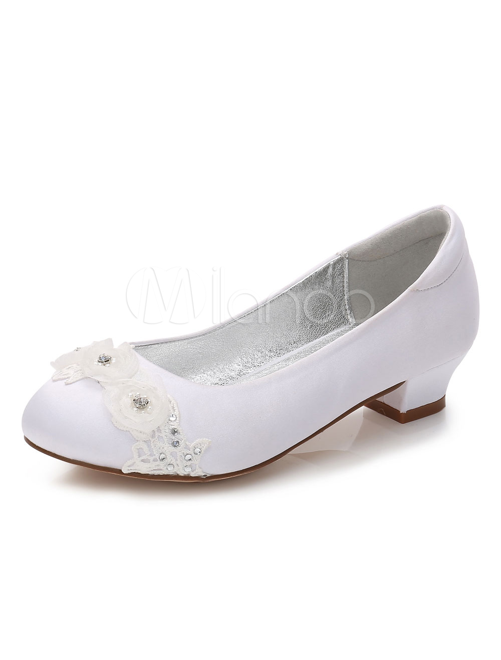 White Flower Girls Shoes Rhinestones Flowers Round Toe Chunky Heel Pumps