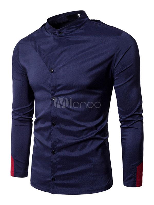 Buy Navy Men Shirt Long Sleeve Shirt Stand Collar Long Sleeve Casual Shirt for $18.99 in Milanoo store