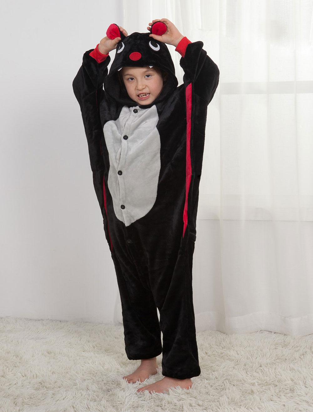 Buy Bat Onesie Kigurumi Black Flannel Winter Jumpsuit Halloween Costume For Kids for $19.99 in Milanoo store