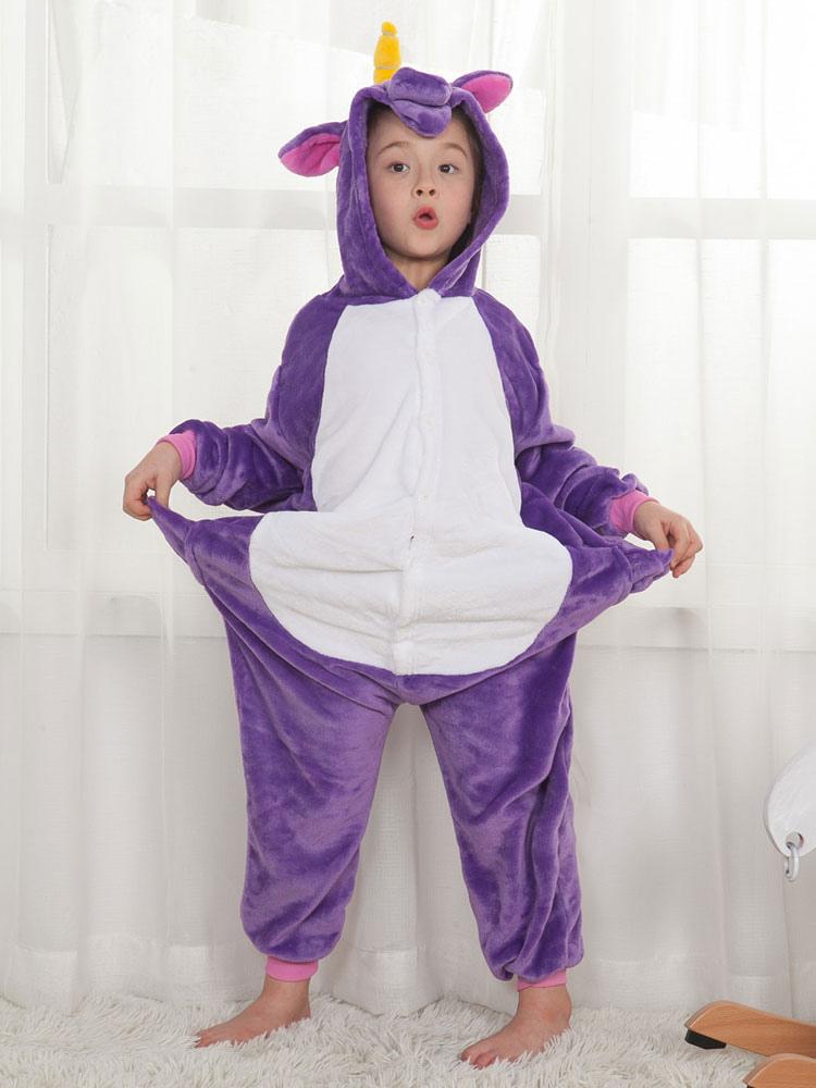 Buy Onesie Unicorn Kigurumi Kids Unisex Purple Flannel Jumpsuit Halloween Costume for $15.99 in Milanoo store