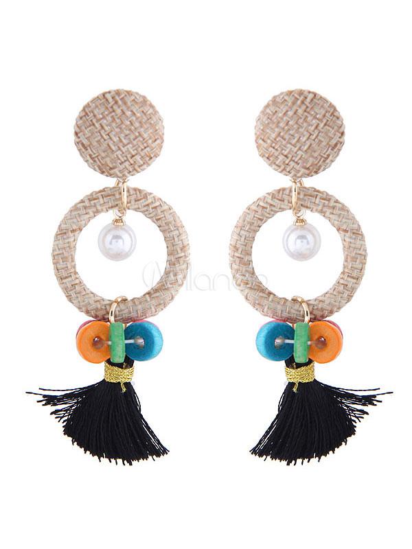 Buy Women Dangle Earring Tassel Hollow Out Alloy Black Earring for $4.24 in Milanoo store