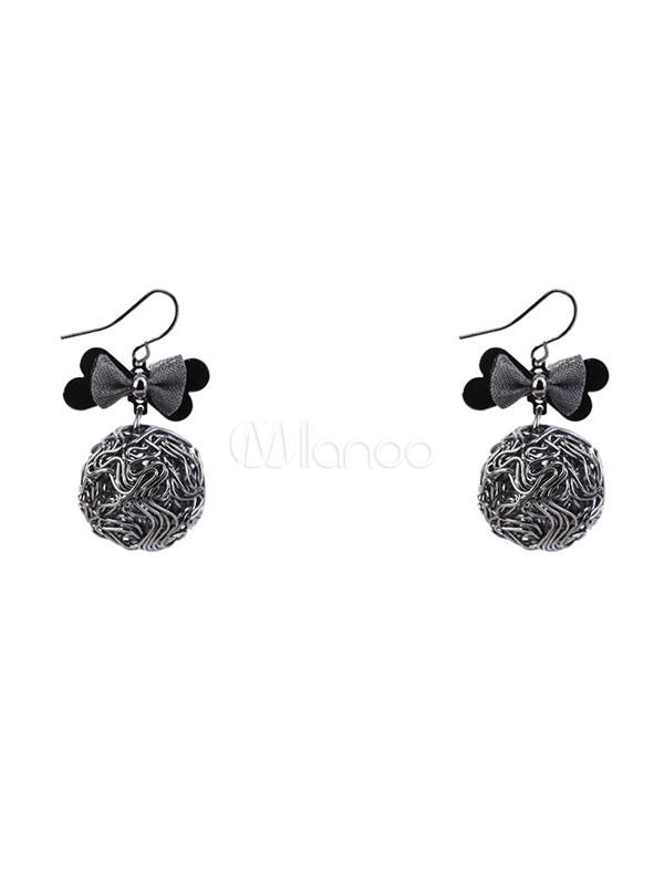 Buy Women Drop Earring Bow Metallic Ball Copper Grey Dangle Earring for $4.24 in Milanoo store