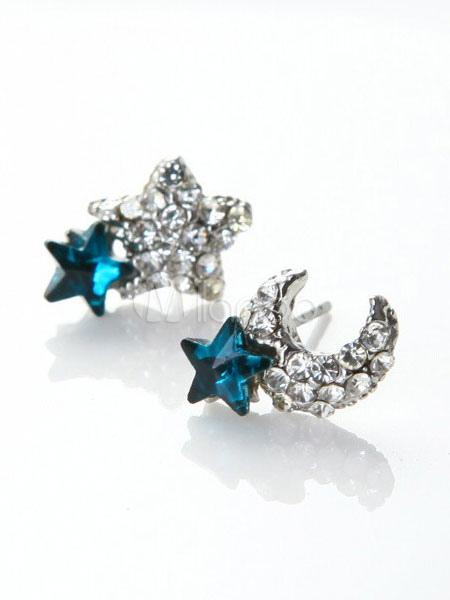 Buy Women Stud Earring Rhinestone Starlet New Moon Blue Alloy Earring for $2.54 in Milanoo store