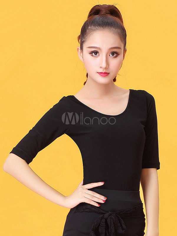 Buy Latin Dance Costume Women Black Round Neck Half Sleeve T Shirt for $35.99 in Milanoo store
