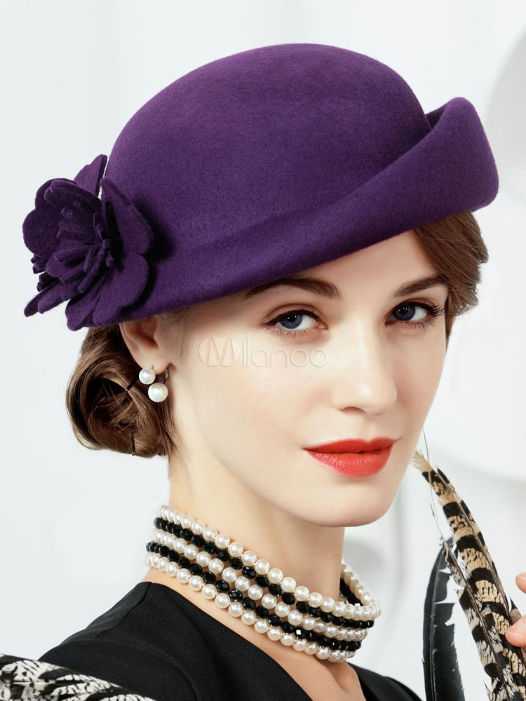 3b5f7dd16 Vintage Wool Hat Flowers Deep Purple Women Costume Accessories