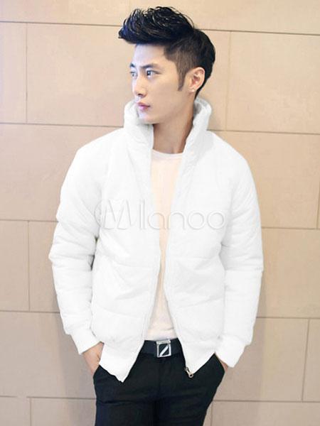 Buy Men Lightweight Jacket White Puffer Coat Stand Collar Long Sleeve Zip Up Short Jacket for $43.19 in Milanoo store