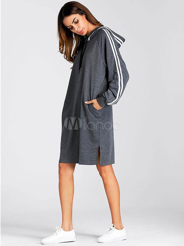 Buy Women Shift Dresses Hooded Long Sleeve Striped Split Deep Grey Hoodie Dress for $26.99 in Milanoo store