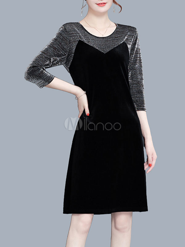 Buy Black Shift Dresses Round Neck Long Sleeve Velour Fake Two-Piece Style Women Dress for $35.99 in Milanoo store