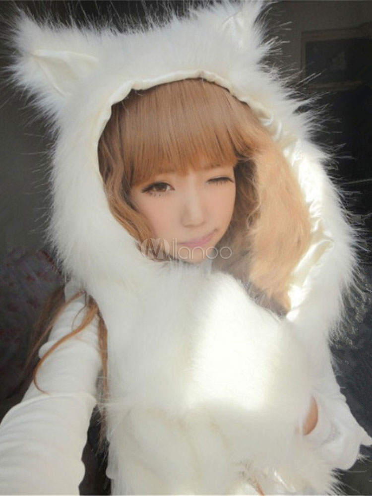 Buy Faux Fur Hat Animal Ear Mitten Scarf Winter Shawl Hood For Women for $11.19 in Milanoo store