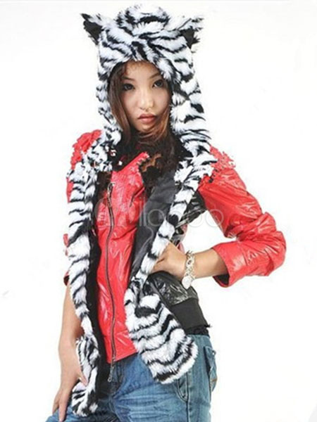 Buy Faux Fur Hats Animal Ears Hood Paws Fluffy Winter Mitten Scarfs for $14.99 in Milanoo store