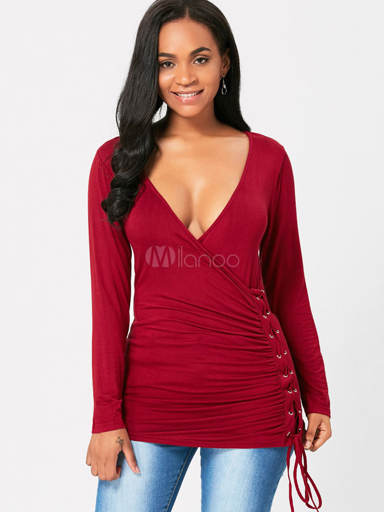 Women T Shirt Burgundy V Neck Long Sleeve Lace Up Ruched Top