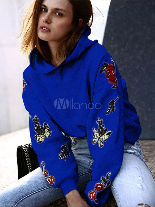 Women Hoodie Fleece Hooded Long Sleeve Butterfly Embroidered Blue Top